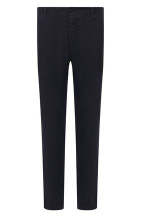 Мужские льняные брюки TRANSIT темно-синего цвета, арт. CFUTRND130 | Фото 1 (Длина (брюки, джинсы): Стандартные; Материал внешний: Лен; Случай: Повседневный; Стили: Кэжуэл)