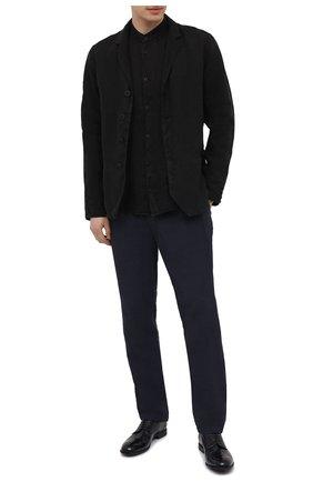 Мужские льняные брюки TRANSIT темно-синего цвета, арт. CFUTRND130 | Фото 2 (Длина (брюки, джинсы): Стандартные; Материал внешний: Лен; Случай: Повседневный; Стили: Кэжуэл)