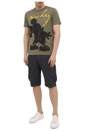 Мужская хлопковая футболка ICEBERG хаки цвета, арт. 21E I1P0/F027/6301   Фото 2