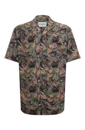 Мужская рубашка из вискозы ICEBERG хаки цвета, арт. 21E I1P0/G050/5159 | Фото 1 (Материал внешний: Вискоза; Рукава: Короткие; Длина (для топов): Стандартные; Случай: Повседневный; Воротник: Отложной; Стили: Кэжуэл; Принт: С принтом)