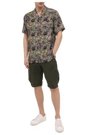 Мужская рубашка из вискозы ICEBERG хаки цвета, арт. 21E I1P0/G050/5159 | Фото 2 (Материал внешний: Вискоза; Рукава: Короткие; Длина (для топов): Стандартные; Случай: Повседневный; Воротник: Отложной; Стили: Кэжуэл; Принт: С принтом)