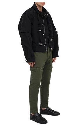Мужские кожаные кеды KENZO черного цвета, арт. FB55SN270L50 | Фото 2 (Материал внутренний: Текстиль, Натуральная кожа; Подошва: Массивная)