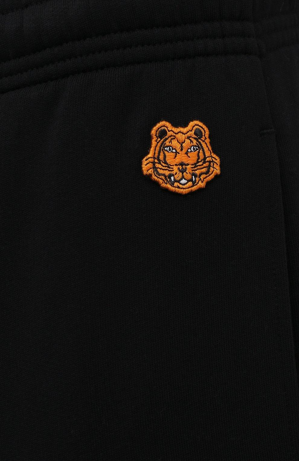 Мужские хлопковые джоггеры KENZO черного цвета, арт. FB55PA7114ML   Фото 5 (Длина (брюки, джинсы): Стандартные; Материал внешний: Хлопок; Стили: Спорт-шик; Силуэт М (брюки): Джоггеры)