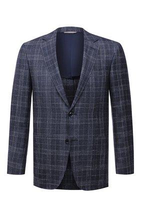 Мужской пиджак из шерсти и шелка CANALI темно-синего цвета, арт. 23288/CF00447/116 | Фото 1