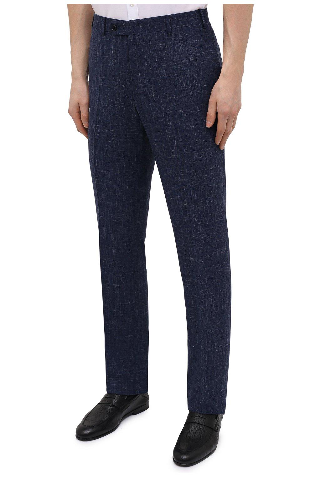 Мужские брюки из шерсти и шелка CANALI темно-синего цвета, арт. 71012/AE00386 | Фото 3