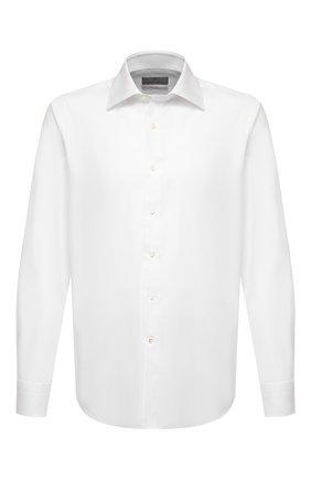 Мужская хлопковая сорочка CANALI белого цвета, арт. N705/GR01592 | Фото 1 (Рукава: Длинные; Материал внешний: Хлопок; Длина (для топов): Стандартные; Случай: Формальный; Манжеты: На пуговицах; Воротник: Акула; Рубашки М: Regular Fit; Принт: Однотонные; Стили: Классический)