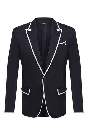 Мужской пиджак DOLCE & GABBANA темно-синего цвета, арт. G20V3T/FUGI2 | Фото 1