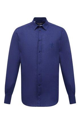 Мужская льняная рубашка DOLCE & GABBANA темно-синего цвета, арт. G5EJ1Z/FU4IK | Фото 1