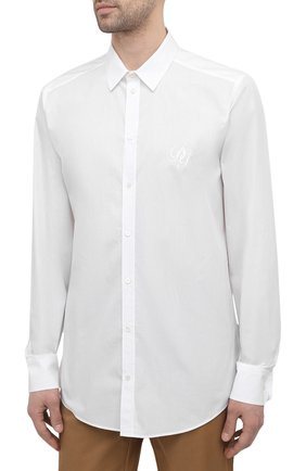 Мужская хлопковая рубашка DOLCE & GABBANA белого цвета, арт. G5EJ1Z/GEN86 | Фото 3