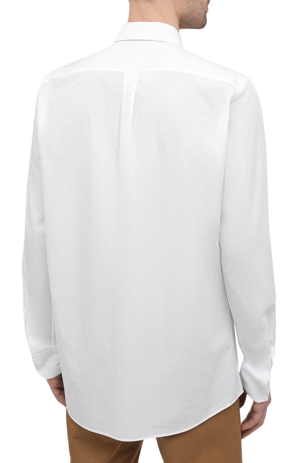 Мужская хлопковая рубашка DOLCE & GABBANA белого цвета, арт. G5EJ1Z/GEN86 | Фото 4