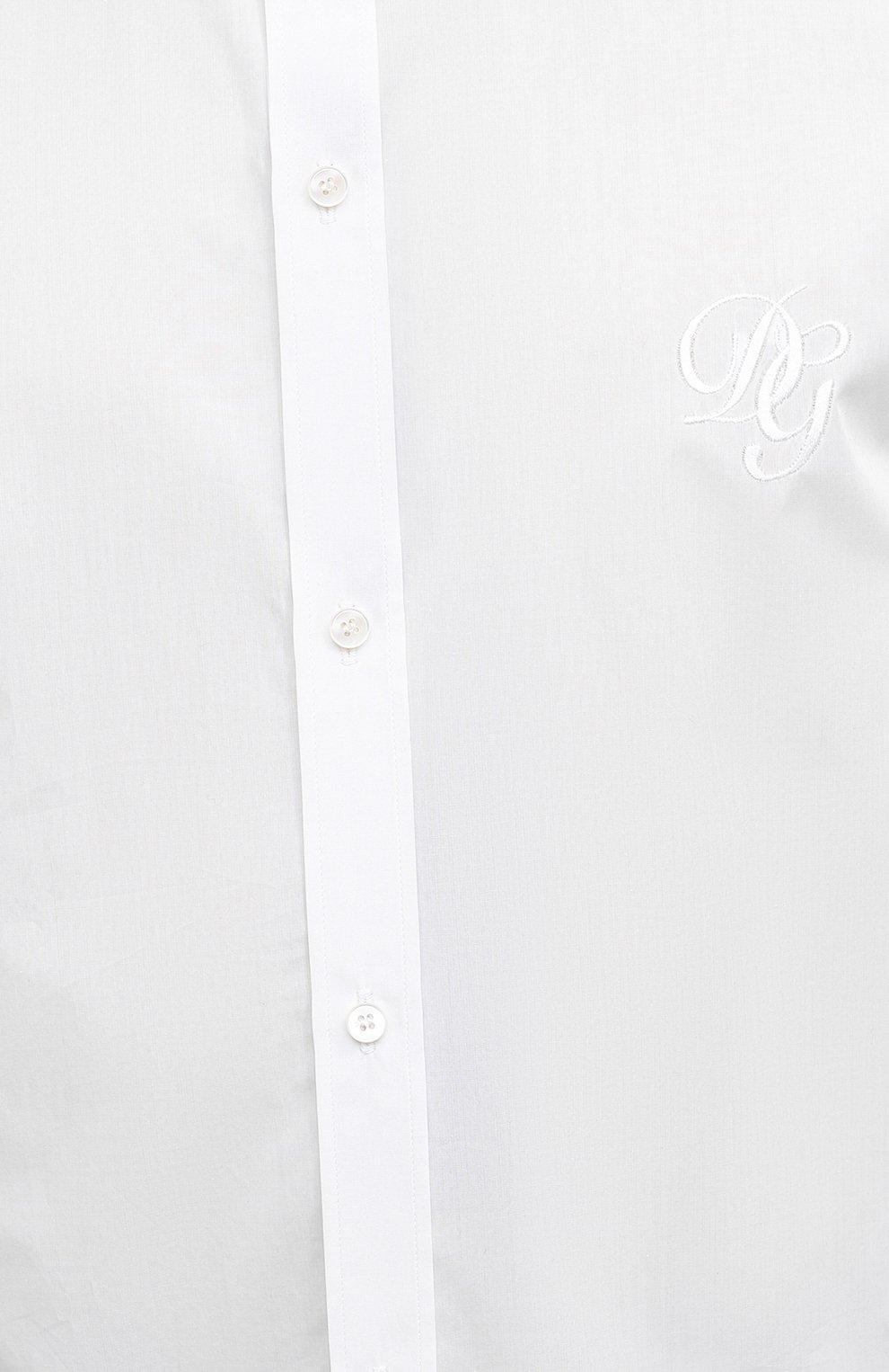 Мужская хлопковая рубашка DOLCE & GABBANA белого цвета, арт. G5EJ1Z/GEN86 | Фото 5