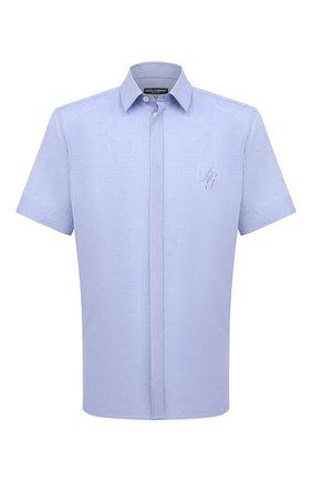 Мужская льняная рубашка DOLCE & GABBANA голубого цвета, арт. G5EX4Z/GE052   Фото 1 (Материал внешний: Лен; Рукава: Короткие; Длина (для топов): Стандартные; Случай: Повседневный; Воротник: Кент; Рубашки М: Classic Fit; Принт: Однотонные; Стили: Кэжуэл)