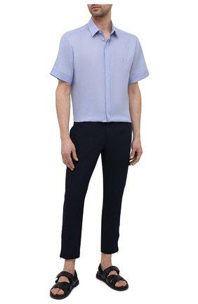 Мужская льняная рубашка DOLCE & GABBANA голубого цвета, арт. G5EX4Z/GE052   Фото 2 (Материал внешний: Лен; Рукава: Короткие; Длина (для топов): Стандартные; Случай: Повседневный; Воротник: Кент; Рубашки М: Classic Fit; Принт: Однотонные; Стили: Кэжуэл)