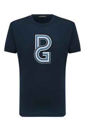 Мужская хлопковая футболка DOLCE & GABBANA темно-синего цвета, арт. G8JX7T/FI70H | Фото 1