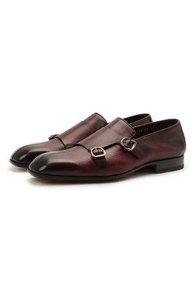 Мужские кожаные лоферы SANTONI бордового цвета, арт. MCLI17570LA3SGTHQ52 | Фото 1 (Материал внутренний: Натуральная кожа; Мужское Кросс-КТ: Лоферы-обувь; Стили: Классический)