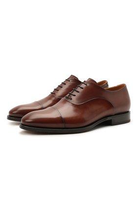 Мужские кожаные оксфорды W.GIBBS коричневого цвета, арт. 7255018/2102 | Фото 1 (Материал внутренний: Натуральная кожа; Стили: Классический)