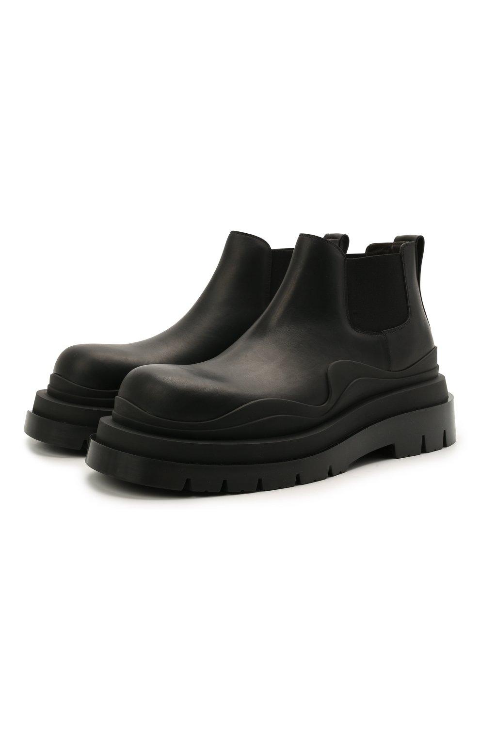 Мужские кожаные челси tire BOTTEGA VENETA черного цвета, арт. 630281/VBS50   Фото 1 (Каблук высота: Высокий; Материал внутренний: Натуральная кожа; Подошва: Массивная; Мужское Кросс-КТ: Сапоги-обувь, Челси-обувь)
