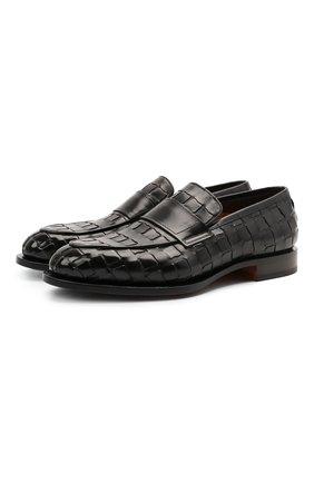 Мужские кожаные лоферы SANTONI черного цвета, арт. MCC017554MC3HVVDN01 | Фото 1 (Материал внутренний: Натуральная кожа; Мужское Кросс-КТ: Лоферы-обувь; Стили: Классический)