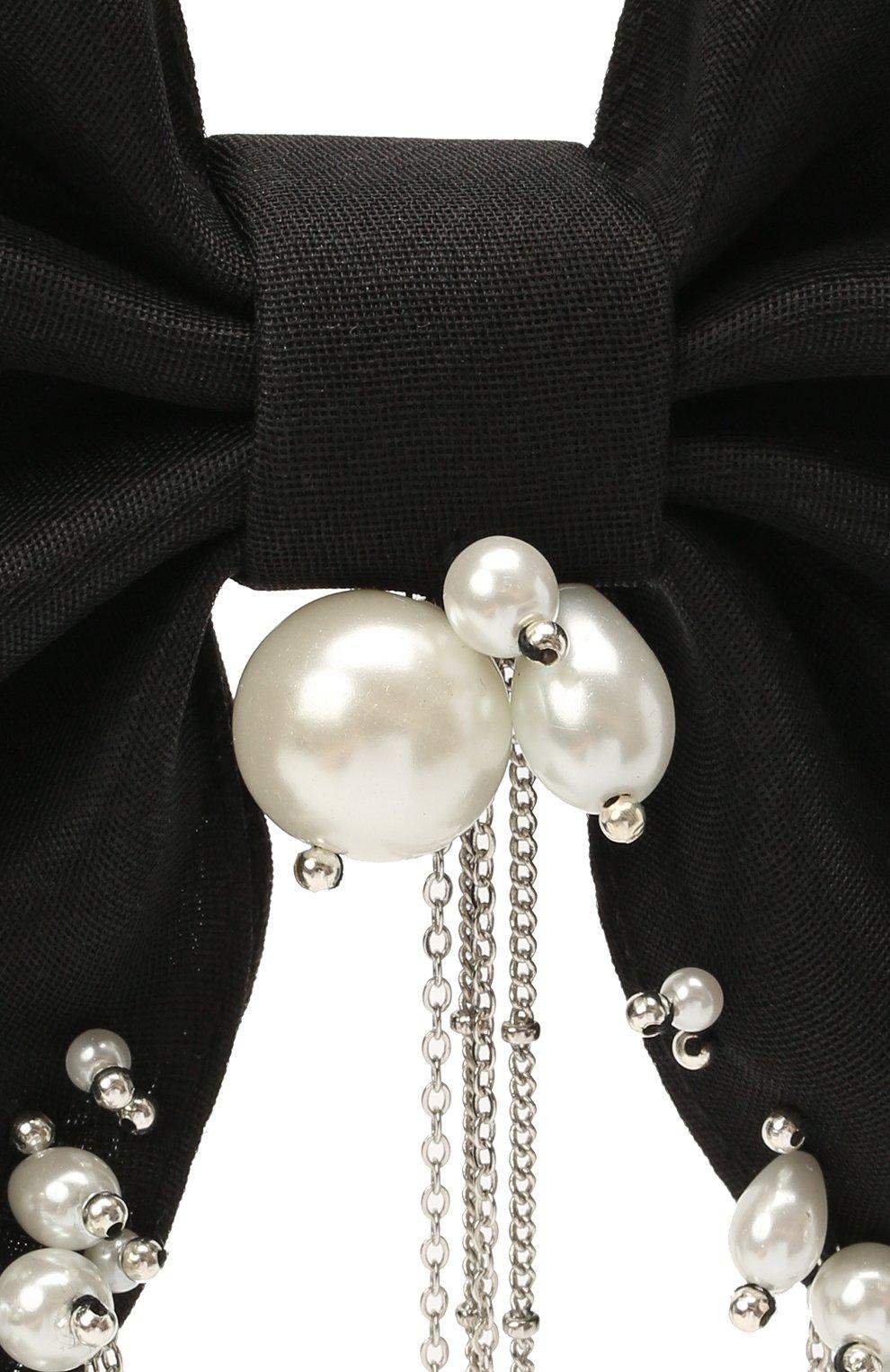 Женская бант PANFIL черного цвета, арт. 0-D3-Prl   Фото 3 (Материал: Текстиль)