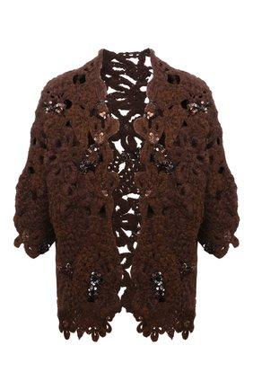 Женский шерстяной кардиган BRUNELLO CUCINELLI коричневого цвета, арт. MAB600706 | Фото 1