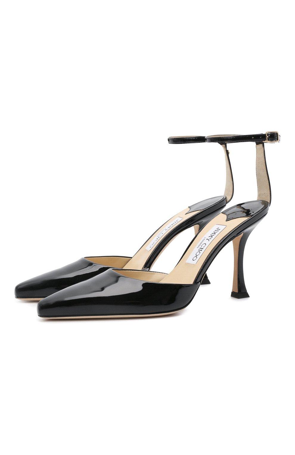 Женские кожаные туфли mair 90 JIMMY CHOO черного цвета, арт. MAIR 90/GHE | Фото 1 (Каблук высота: Высокий; Материал внутренний: Натуральная кожа; Каблук тип: Шпилька; Подошва: Плоская)