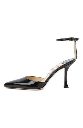 Женские кожаные туфли mair 90 JIMMY CHOO черного цвета, арт. MAIR 90/GHE | Фото 4 (Каблук высота: Высокий; Материал внутренний: Натуральная кожа; Каблук тип: Шпилька; Подошва: Плоская)