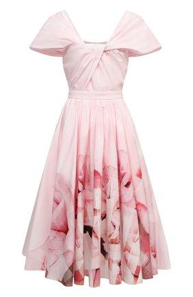 Женское хлопковое платье ALEXANDER MCQUEEN светло-розового цвета, арт. 651720/QCADD | Фото 1