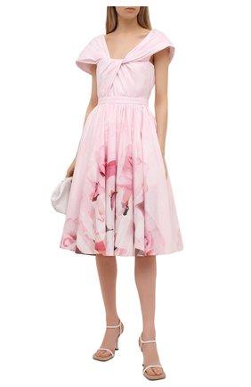 Женское хлопковое платье ALEXANDER MCQUEEN светло-розового цвета, арт. 651720/QCADD | Фото 2