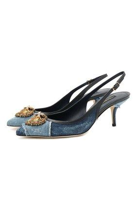Женские комбинированные туфли cardinale DOLCE & GABBANA синего цвета, арт. CG0480/A0621   Фото 1 (Материал внутренний: Натуральная кожа; Материал внешний: Текстиль; Каблук высота: Средний; Подошва: Плоская; Каблук тип: Шпилька)