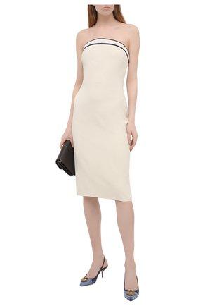 Женские комбинированные туфли cardinale DOLCE & GABBANA синего цвета, арт. CG0480/A0621   Фото 2 (Материал внутренний: Натуральная кожа; Материал внешний: Текстиль; Каблук высота: Средний; Подошва: Плоская; Каблук тип: Шпилька)