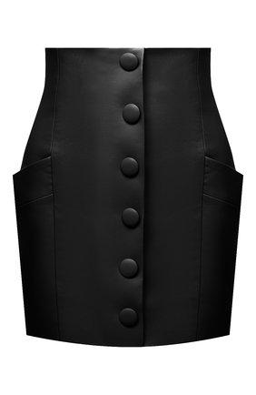 Женская кожаная юбка BALMAIN черного цвета, арт. VF14086/L062 | Фото 1