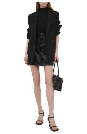 Женская кожаная юбка BALMAIN черного цвета, арт. VF14086/L062 | Фото 2