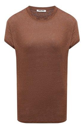 Женская льняная футболка MAX&MOI коричневого цвета, арт. PERTAIWAN | Фото 1
