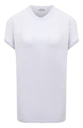 Женская льняная футболка MAX&MOI светло-голубого цвета, арт. PERTAIWAN   Фото 1 (Материал внешний: Лен; Длина (для топов): Стандартные; Принт: Без принта; Женское Кросс-КТ: Футболка-одежда; Стили: Кэжуэл; Рукава: Короткие)