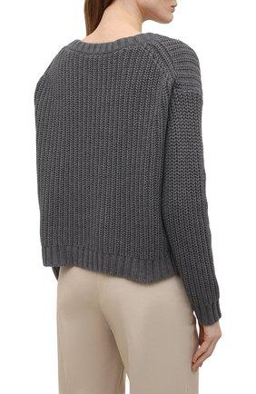 Женский хлопковый свитер ATM ANTHONY THOMAS MELILLO темно-серого цвета, арт. AW8412-YY | Фото 4 (Женское Кросс-КТ: Свитер-одежда; Рукава: Длинные; Длина (для топов): Стандартные; Материал внешний: Хлопок; Стили: Кэжуэл)