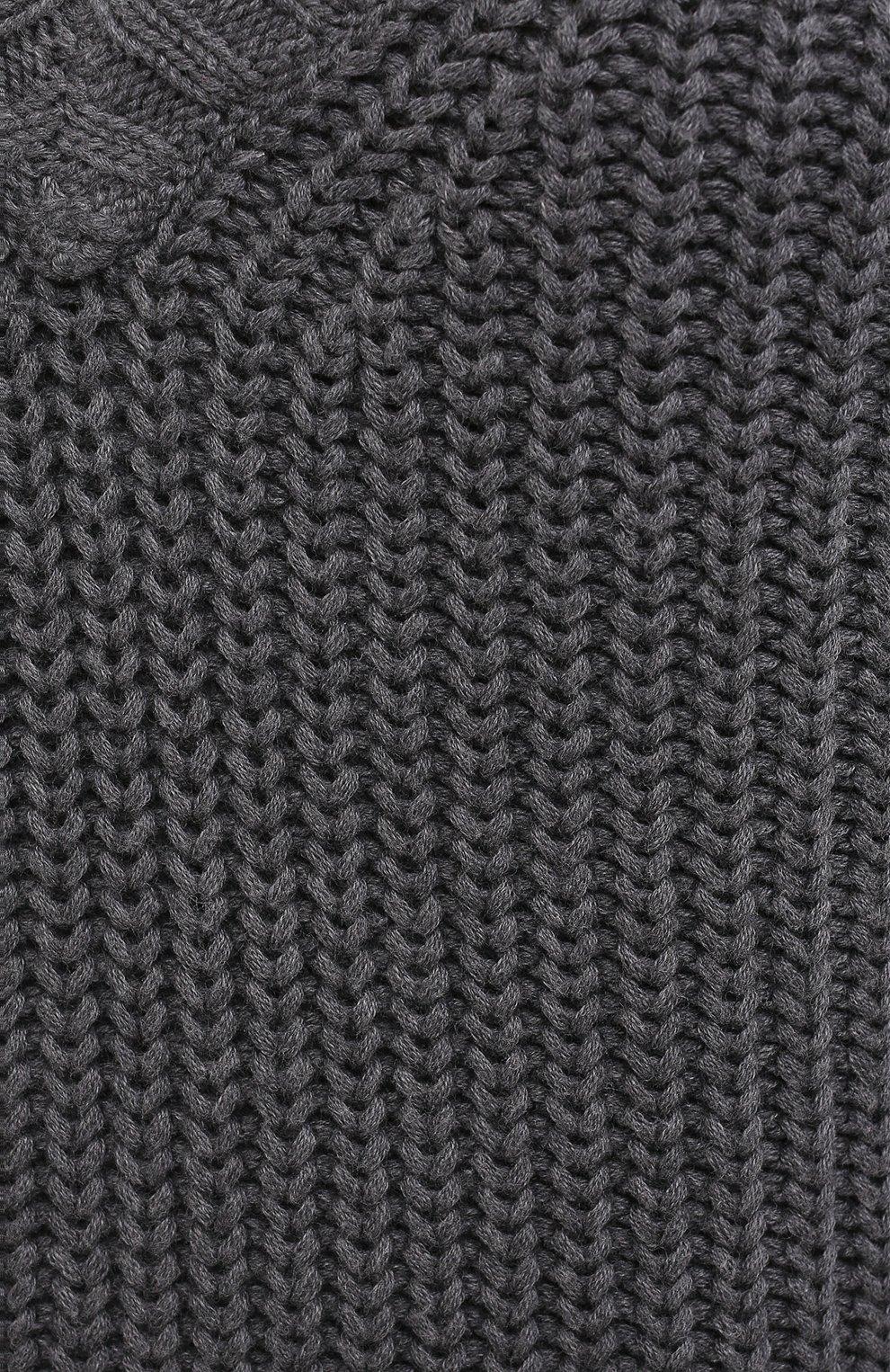 Женский хлопковый свитер ATM ANTHONY THOMAS MELILLO темно-серого цвета, арт. AW8412-YY | Фото 5 (Женское Кросс-КТ: Свитер-одежда; Рукава: Длинные; Длина (для топов): Стандартные; Материал внешний: Хлопок; Стили: Кэжуэл)