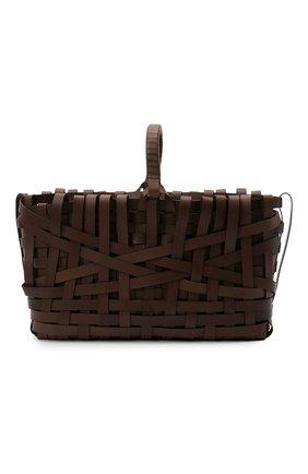 Женский сумка woven large JIL SANDER темно-коричневого цвета, арт. JSPS851523-WSB00079 | Фото 1