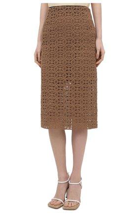 Женская хлопковая юбка DOROTHEE SCHUMACHER коричневого цвета, арт. 242201/B0LD STATEMENT | Фото 3