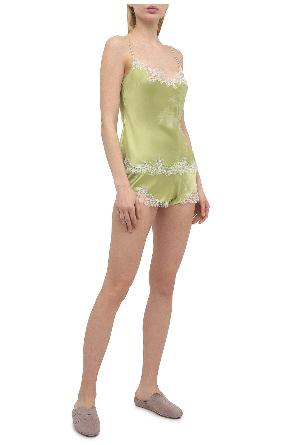 Женские шелковые шорты CARINE GILSON зеленого цвета, арт. RG0768CG S21 | Фото 2