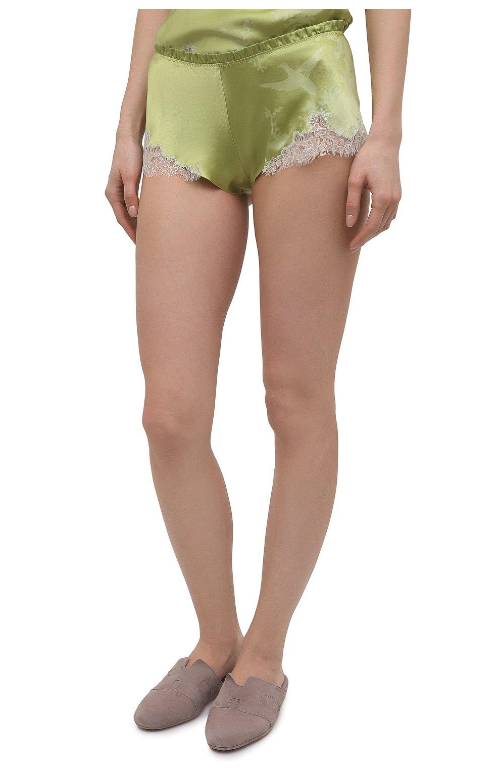 Женские шелковые шорты CARINE GILSON зеленого цвета, арт. RG0768CG S21 | Фото 3