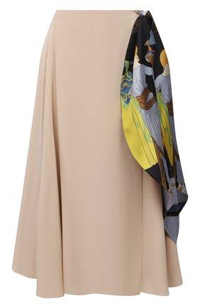 Женская шелковая юбка LANVIN светло-бежевого цвета, арт. RW-ST417T-4868-P21 | Фото 1