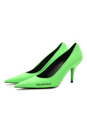 Женские текстильные туфли knife BALENCIAGA зеленого цвета, арт. 628602/W1802 | Фото 1