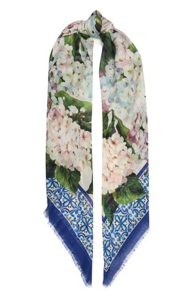 Женский шарф из кашемира и шелка DOLCE & GABBANA голубого цвета, арт. FS209A/G2SCB | Фото 1