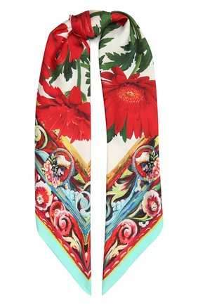 Женский шелковый платок DOLCE & GABBANA красного цвета, арт. FN090R/G0TFY   Фото 1