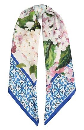 Женский шелковый платок DOLCE & GABBANA голубого цвета, арт. FN090R/G0TFW | Фото 1