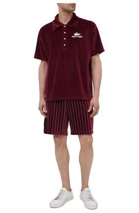 Мужские хлопковые шорты lacoste x ricky regal LACOSTE бордового цвета, арт. GH1784   Фото 2