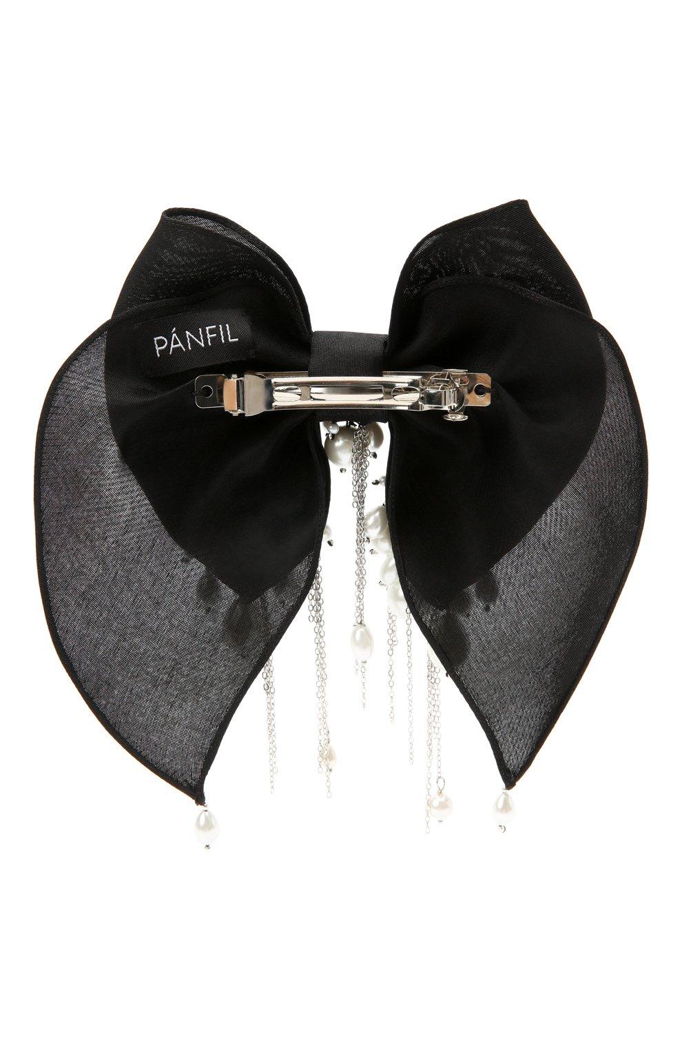 Женская бант PANFIL черного цвета, арт. 0-X4-Prl | Фото 2 (Материал: Текстиль, Шелк)