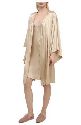 Женская шелковая сорочка I.D. SARRIERI золотого цвета, арт. J3340 | Фото 2