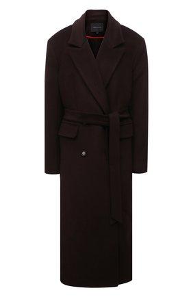 Женское пальто из шерсти и вискозы LESYANEBO коричневого цвета, арт. FW20/H-405-3 | Фото 1 (Материал внешний: Шерсть; Материал подклада: Вискоза; Рукава: Длинные; Длина (верхняя одежда): Длинные; 1-2-бортные: Двубортные; Стили: Кэжуэл)