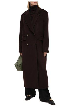Женское пальто из шерсти и вискозы LESYANEBO коричневого цвета, арт. FW20/H-405-3 | Фото 2 (Материал внешний: Шерсть; Материал подклада: Вискоза; Рукава: Длинные; Длина (верхняя одежда): Длинные; 1-2-бортные: Двубортные; Стили: Кэжуэл)